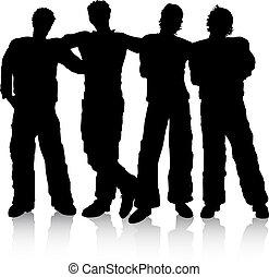 Best friends - Silhouettes of male friends