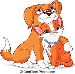 Best friends  - Illustration of a Cute Dog hugging a Cat