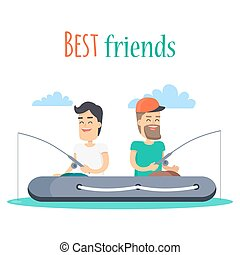 Best Friends Fishing on Inflatable Boat Vector