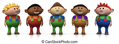 best friends - five colorful multi-ethnic cartoon boys with...