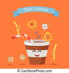 Best Friends, Food Banner - Best friends, food banner. Happy...
