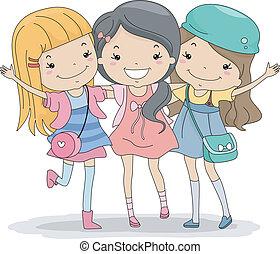 Illustration of a Group of Girls Huddled Together