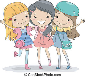 Best Friends Forever - Illustration of a Group of Girls...