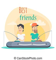 Best Friends Go Fishing Together Illustration