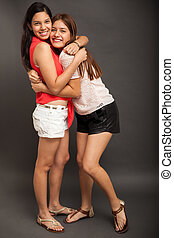 Best friends hugging each other