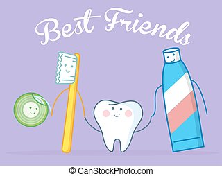 Best Friends Of Healthy Tooth - Hygiene concept. Toothcare...