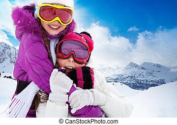 Best friends on vacation - Two cute kids friends girls...