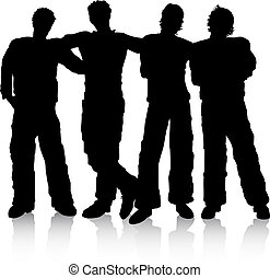 Silhouettes of male friends