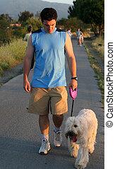Best friends - Man walking his dog