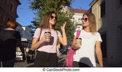 Best Friends Talking while Walking