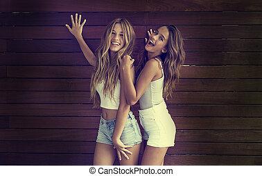 Best friends teen girls having fun together - Best friends...