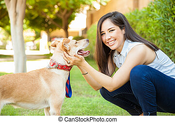 Best friends with her dog