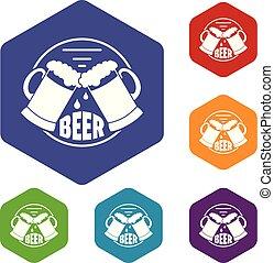 Best glass beer icons vector hexahedron