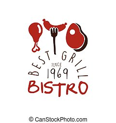 Best grill bistro since 1969 logo template hand drawn colorful vector Illustration