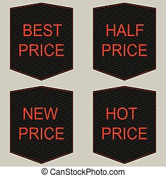 Best, half, new, hot price tags set.