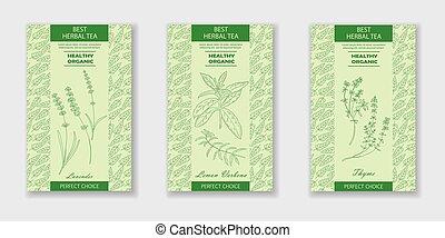 Best herbal tea. Vector Lavender, Lemon Verbena, Thyme packaging design or label. Vintage illustration with hand drawn sketch. Line art style.