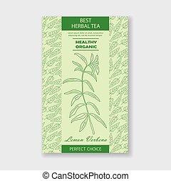 Best herbal tea. Vector Lemon Verbena packaging design or label. Vintage illustration with hand drawn sketch. Line art style.