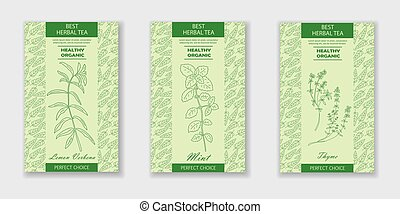 Best herbal tea. Vector packaging design or label. Vintage illustration with hand drawn sketches: Lemon Verbena, Mint, Thyme. Healthy food, bio, organic, natural product.