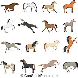 Best Horse Breeds Pictures Icons Set - Best horses breeds...