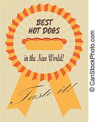Best hot dogs - Retro advertising poster with a hot dog in a...