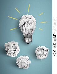 Best idea concept, bulb with crumpled paper