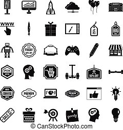 Best idea icons set, simple style