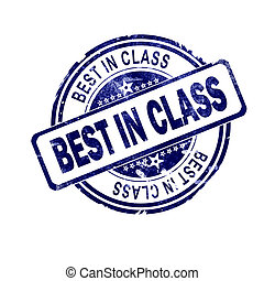 Best in class word with blue round stamp