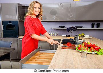 best ingredient - Beautiful woman housewife prepares healthy...