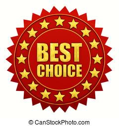 best, keuze, garantie, rood, en, goud, etiket