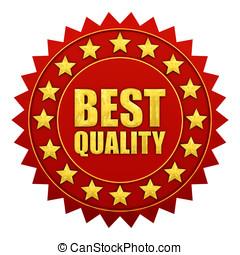 best, kwaliteit, garantie, rood, en, goud, etiket