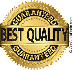 best, kwaliteit, guaranteed, gouden, labe