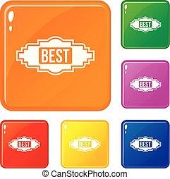 Best label icons set vector color