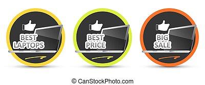 Best laptop. Best price. Big sale. Vector icon.