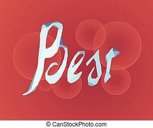 Best lettering made of ice on bokeh background. Vector illustration EPS10