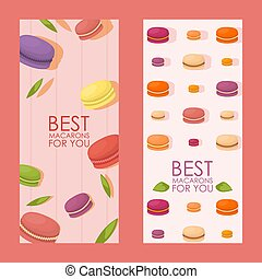 Best macarons vertical banner, vector illustration. Confectionery advertisement campaign, colorful french macaroons, pastry shop assortment, selection of delicious cookies