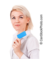young woman shows a blank plastic card