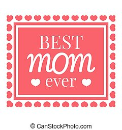 Best mom card icon, cartoon style
