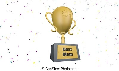 Best Mom Victory Trophy Award Golden Cup Animation
