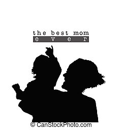 best mom with child silhouette illustration in black