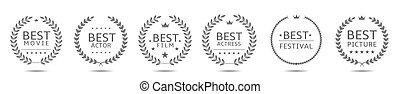 Cinematography award badge set. Best picture, best actor, best movie