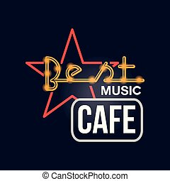 Best music cafe retro neon sign, vintage bright glowing signboard, light banner vector Illustration