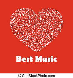 Best Music poster with heart shape musical notes