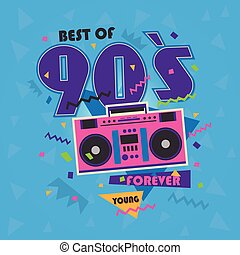 Best of 90s illistration with realistic tape recorder on...