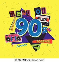 Best of 90s illistration with realistic tape cassette on...