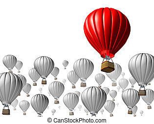 Best of breed concept with a red hot air balloon rising above and standing out from the rest symbolized by other grey flying vehicles on a white background as an icon of business and financial success.