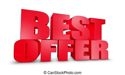 Best Offer 3D Text Come Down 3D Animation Render.