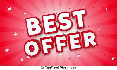 Best Offer 3D Text on Falling Confetti Background.