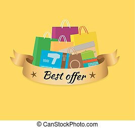 Best Offer Banner with Isolated Stack of Purchases