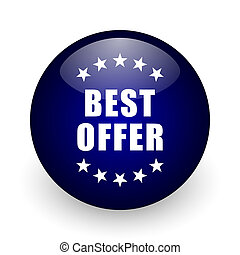 Best offer blue glossy ball web icon on white background. Round 3d render button.