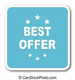 best offer blue square internet flat design icon